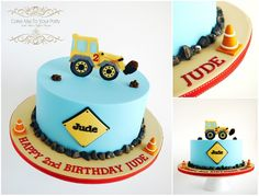Digger Cake www.facebook.com/cakemetoyourparty A big Happy Birthday to Jude (who loves diggers)! A marble cake filled with Choc/Orange Buttercream. Handmade 2D digger and fondant details.