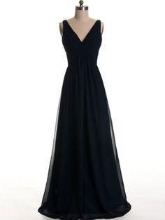 V-neck Low Back Elegant Black Bridesmaid Dress With Straps
