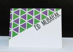 Handmade Eid Mubarak Greeting Card Triangles  by CrescentandDawn