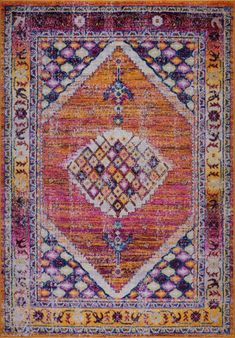 Sapphire Traditional Style Made in Europe Durable Turkish Mat Carpet in Orange Burgundy Geometric Background, Gray Background, Polypropylene Rugs, Traditional Area Rugs, Power Loom, Orange Pink, Pink Blue, Blue Area Rugs, Persian
