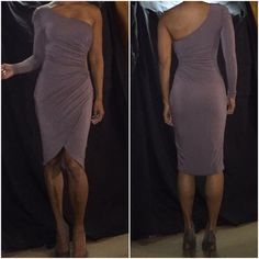 """Sexy mauve scrunch dress. Sexy mauve one shoulder scrunch dress.  It scrunches on one side and has a peak a boo on the side.  It's sexy and conservative all mixed into one.  Also has a lining and is stretchy.  I'm 5'2"""" bebe Dresses One Shoulder"""