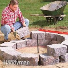 How to Build a Stone Fire Ring | http://www.familyhandyman.com/masonry/how-to-build-a-stone-fire-ring/view-all