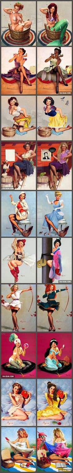 If Disney Princesses Were Sexy & Flirty Pin-Up Models