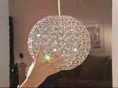 """Brenda Jones demonstrates """"How to make a Sparkleball. Using solo cups, staples, christmas lights, and a drill or soldering iron. Christmas Lamp, Christmas Lights, Shade Flowers, Diy Flowers, Diy Gifts For Friends, Diy Crystals, Chandelier Lighting, Modern Chandelier, Paper Lanterns"""