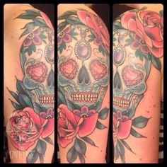 Mexican skull #tattoo #skull #mexicanskull #dayofthedead #neotraditional #onedge #basia #barbaramunster