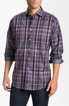 Thomas Dean Plaid Sport Shirt