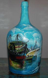 As minhas pequenas pinturas...: Reciclando mais um garrafão com pintura a oleo …