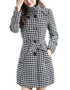BeautyAdele Women's Houndstooth Double-breasted Belted Woolen Coat Overcoat