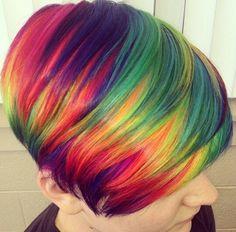 Short rainbow hair Funky Hair Colors, Hair Dye Colors, Cool Hair Color, Colorful Hair, Funky Hairstyles, Pretty Hairstyles, Love Hair, Gorgeous Hair, Short Rainbow Hair