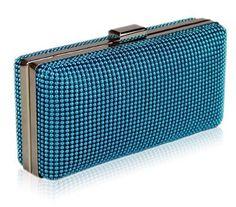 Womens Designer Silver Hard Case Clutch Evening Bag KCMODE 439af19f4de1d