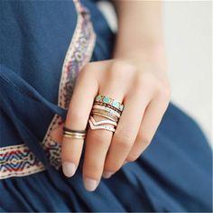 Bohemian Style Retro Punk Rhinestone Alloy Individual Midi Rings Geometric Finger Knuckle Ring set JZ-215  #beauty #cute #outfitoftheday #styles #jewelry #outfit #purse #model #style #hair #beautiful #stylish #jennifiers #fashion #makeup