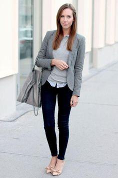 gray blazer work outfit, Chic work styling ideas to wear http://www.justtrendygirls.com/chic-work-styling-ideas-to-wear/