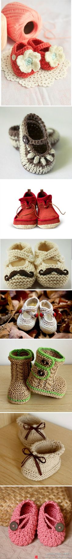 Crochet shoes; these are so cute! I'm going to learn how to make these for when I have a baby :)
