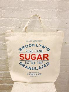 Screen printed canvas tote bag Sugar sack Made by mndavisandson