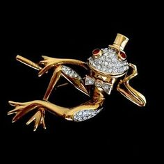 A-S-Attwood-Sawyer-Big-22kt-Gold-Plated-Swarovski-Crystals-Pin-Brooch-MINT-CON