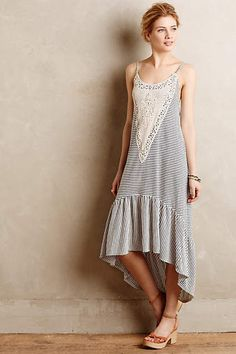 Odette Maxi Dress Striped Lace Anthropologie By Lilka Sz Medium NWT #Anthropologie #Maxi #Casual