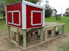 Love everything about this coop design from the homemade feeder and waterer to the manure box...genius!