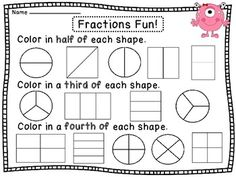 Fractions- Look at the shaded part of each shape and