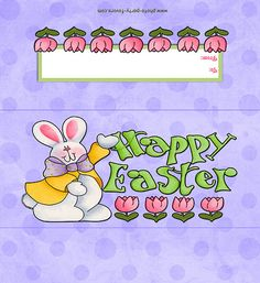 Free Printable Happy Easter Bunny Candy Bar Wrapper, ready to personalize with your message, (fits a 1.55 oz. bar).