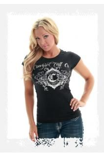 Women's black short sleeve tee with Cowgirl Tuff Company silver foil print and design. Super comfy! Style #000266