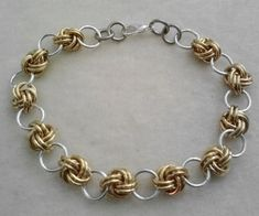 Love Knot Chain Maille chainmail bracelet in anodized aluminum be ready for the  renaisannce Faire $20.00