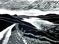 Sky Road, Connemara Wood Cut Print by Gail Kelly.