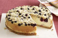 Cheesecake PHILADELPHIA con arándanos azules y cobertura de migas receta