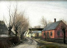 Laurits Andersen Ring - Road in Baldersbrønde 1913 Landscape Photos, Landscape Paintings, Danish Culture, Social Realism, Types Of Work, Magic Realism, Building Art, Scandinavian Art, Painting Gallery