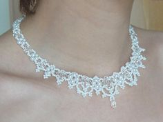 Victorian Beaded Lace Bridal Statement Necklace in by lapuzelo