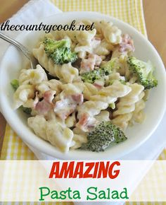 The Country Cook: Amazing Pasta Salad-- This was amazing. A combination of a broccoli salad and pasta salad. Yum! Made 8-1-14