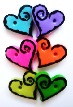 Button Rock Hearts handmade polymer clay buttons  by digitsdesigns, $7.00