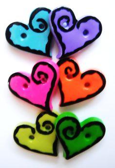 Button Rock Hearts handmade