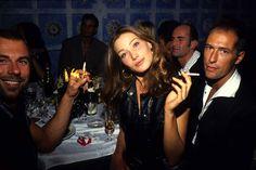 Carla Bruni smoking with Thierry Mugler