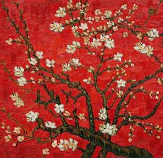 Vincent van Gogh Branches of an almond tree in Blossom in Red painting is shipped worldwide,including stretched canvas and framed art.This Vincent van Gogh Branches of an almond tree in Blossom in Red painting is available at custom size. Vincent Van Gogh, Van Gogh Paintings, Paintings For Sale, Art Mural Rouge, Van Gogh Pinturas, Van Gogh Almond Blossom, Red Wall Art, Henri Rousseau, Famous Artwork
