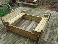 Sandbox with seats that turn into a cover.