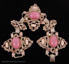 Vintage BOLD Chunky SELRO Ornate BRACELET Pink CABOCHON Rhinestone Pearl Enamel