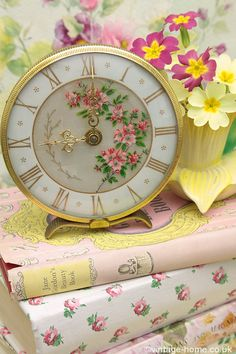 Vintage Home - Pink Blossom Boudoir Clock: www.vintage-home.co.uk - LOVE this clock.