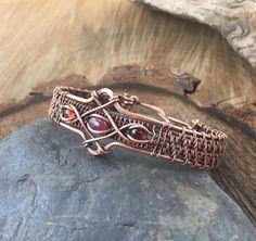 Wire Wrapped Bracelet - Copper Bracelet - Garnet Bracelet - Tourmaline Bracelet - Heady Wire Wrap - Wire Wrapped Jewelry - Valentine's Gift