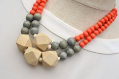 orange statement necklace / orange and grey necklace / geometric necklace / orange beaded necklace / wood bead necklace Hippie Jewelry, Beaded Jewelry, Beaded Necklace, Necklace Set, Wood Necklace, Bohemian Necklace, Steampunk Necklace, Premier Designs Jewelry, Necklace Designs