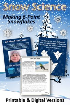 A wonderful lesson about the science of crystals and snow and a fun craft of making realistic 6-point snowflakes. Includes both printable and digital versions for home or school. Complete the unit with a reading comprehension activity called Living With Snow. #winter, #crafts, #winteractivities Stem Education Activities, Physical Activities For Kids, Toddler Learning Activities, Gifted Education, Preschool Activities, Homeschool Preschool Curriculum, Preschool At Home, Homeschooling, Science Fun