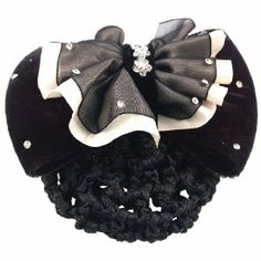 """Rosallini Woman Flower Bowknot Snood Net Hair Clip Barrette Black White by Rosallini. $5.63. Product Name : Snood Net Hair Clip;Size(Not Include the Snood) : 11 x 8 x 5cm / 4.3"""" x 3.1"""" x 2""""(L*W*Depth). Color : White & Black. Net Weight : 35g. Material : Metal, Polyester & Velvet. Package Content : 1 x Snood Net Hair Clip. Bling bling rhinestone accent flower bow barrette with a detachable snood net. Easy to keep your hair in place, very practical and fashion. S..."""