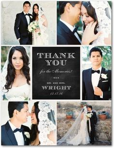 A photo collage of the best moments of your wedding day create a classy thank you card.