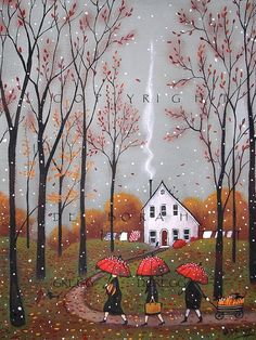 Pumpkins For Pie, a small Autumn Pumpkin Fall Leaves Red Umbrella PRINT by Deborah Gregg.Deborah Gregg Oh what an earthy day! The skies are a pewter grey accented by falling leaves and a few wet snowflakes. Autumn Art, Autumn Leaves, Graffiti Kunst, Gregg, Art Fantaisiste, Red Umbrella, Small Umbrella, Pewter Grey, Halloween Art