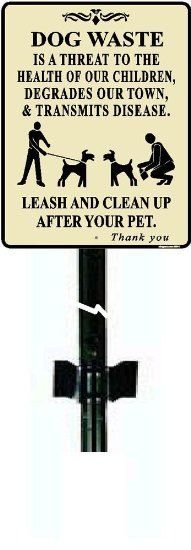 """""""Dog waste"""" No dog poop signs with 3 ft metal post"""