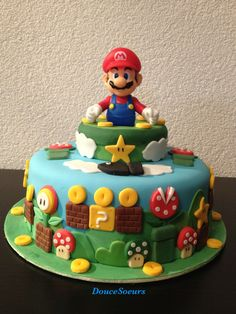 Super Mario Party, Super Mario Bros, Bolo Do Mario, Bolo Super Mario, Luigi Cake, Mario Bros Cake, Mario Kart Cake, Mario Birthday Cake, Super Mario Birthday