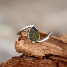 Meteorite Ring, Handmade Rings, Tourmaline Jewelry, Boho Rings, Sterling Silver Rings, 925 Silver, Gemstone Rings, Druzy Ring, Czech Republic