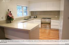 Kitchen layout and breakfast bar. Waterfall bench - bench thickness