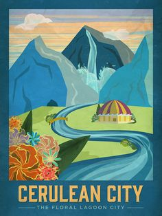 """Pokemon Travel Poster - Cerulean City: """"A beautiful city with flowing water and blooming flowers"""" Part of the Pokemon Travel Poster series. Prints available here."""