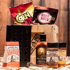 The Hickory Grilling Man Crate - packed with good stuff for the true grilling aficionado. Best Gifts For Men, Cool Gifts, Bbq Games, Man Crates, Ammo Cans, All Fish, Barbeque Sauce, Fathers Day Gifts, Guy Gifts