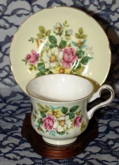 Royal Grafton Bone China Footed Cup & Saucer Roses On Yellow with Gold Trim England